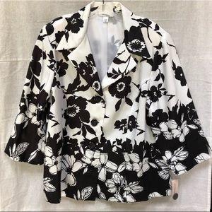 NWT Dressbarn Black & White Floral Blazer